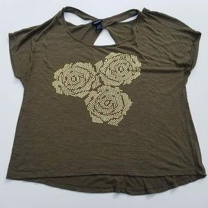 Torrid criss cross back olive green gold roses top